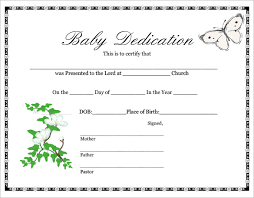 Baby Dedication Certificate Template 21 Free Word Pdf Documents