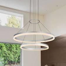 tania duo 65 watt silver integrated led adjule modern 2 tier circular chandelier