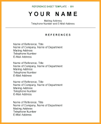 Resume Reference Page Template Resume References Sample 73