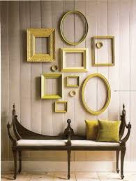 I'm loving how these yellow distressed mirrors make a beautiful collage.
