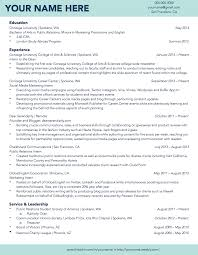Gonzaga University Sample Student Résumé Résumé Samples Student