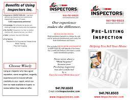 flyers and brochures inspectors inc pre listing brochure front