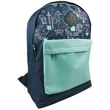 Tyler Pvc School Bag Backpack 400x300x140mm Game Over Aqua