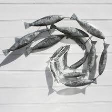 swirling mackerel fish shoal on fish swirl metal wall art with rustic metal shoal of fish wall art fish wall art fish and metals