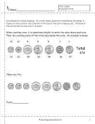 Coin Value Chart Elementary Counting Coins And Money Worksheets And Printouts