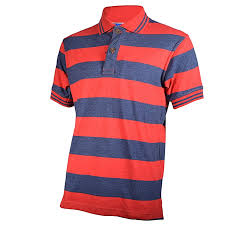 red and deep blue striped mens pure cotton polo t shirt freestyle streetwear