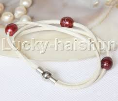 details about baroque 3 rows wine red pearls white leather bracelets magnet clasp j12957