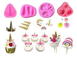 Amazoncom Mini Unicorn Mold Unicorn Horn Ears Flower And Rainbow