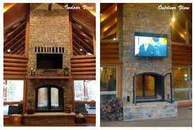custom see through outdoor indoor wood burning fireplace acucraft with outside prepare 19