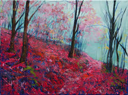 fine art purple forest original acrylics and oil painting on canvas by artist darko
