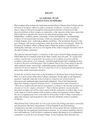 Executive Sumary Academic Plan Executive Summary 091709
