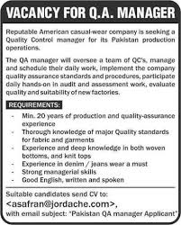 Garments Quality Assurance Manager Jobs In Pakistan 2013 October For