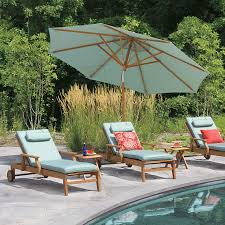 teak 12 ft tilting umbrella in lagoon