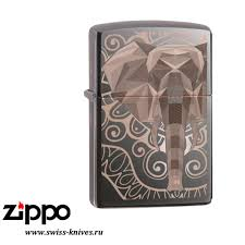 <b>Зажигалка</b> широкая <b>Zippo</b> Classic <b>Elephant</b> Fancy Fill Design Black ...