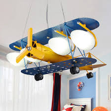 Image is loading Retro-Plane-Pendant-Light-Aircraft-Ceiling-Lamp-Children-