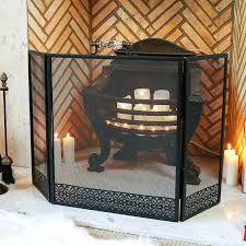fireplace spark screen black fire guard with a cut glass handle protective mesh fire screen with fireplace spark screen