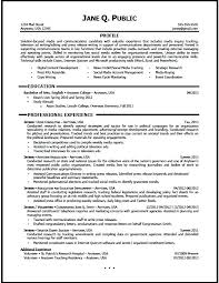Sample Communications Resume Media And Communications Resume Entry