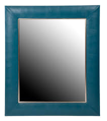 Teal Blue Lizard Leather Framed Mirror - Contemporary Transitional Mirrors  - Dering Hall