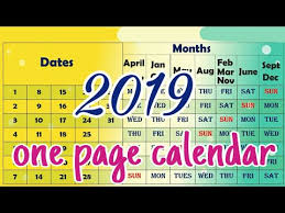 one page calender 2019 one page calendar youtube