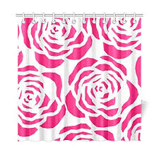 cvbdgb home decor bath curtain hot pink bright fl flower zinnia petals polyester fabric waterproof shower curtain for bathroom 72 x 72 inch shower