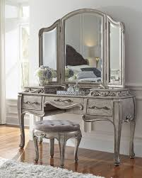 Silver Bedroom Vanity Vanity Stool With French Influenced Decorative Motifs Rubberwood