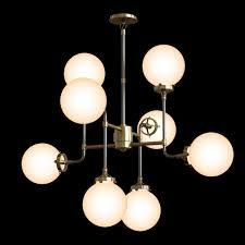 restoration hardware bistro globe milk glass 8 light chandelier 3d model max obj 3ds fbx