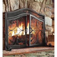 plow hearth small crest fireplace screen with doors reviews inside fireplace screens with doors