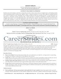 Science Resume With No Experienceteacher Resume Skills Science