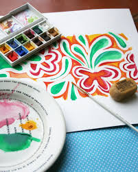painting on paper using watercolors batik with watercolor