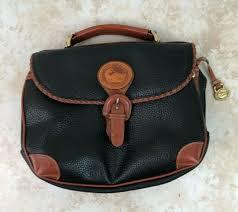dooney bourke purse all weather leather black tan surrey handbag vintage rare