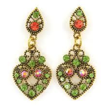 green orange rhinestone drop earrings antique gold chandelier ea