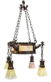 an arts and crafts copper and slag glass chandelier diameter 24 inches by leslie hindman auctioneers 29025 bidsquare