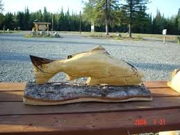 salmon chainsaw wood carving wooden fish sculpture articulated