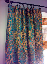 Living Room Curtain Fabric Teal And Taupe Damask Pillow Cover In Designer Chenille Fabric
