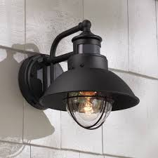 rustic outdoor wall light black exterior fixture motion dusk to dawn for house