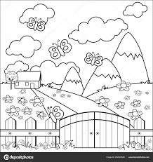 Klein Landhuis Weide Houten Hek Zwart Wit Boekenpagina Kleurplaten