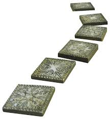 decorative garden stepping stones. Stepping Stones Ancient Square Set Of 6 For Miniature Garden Decorative