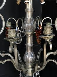french silver frame and colored crystal chandelier chandeliers lighting european antique warehouse