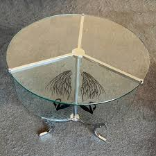 art deco chrome and glass table etched