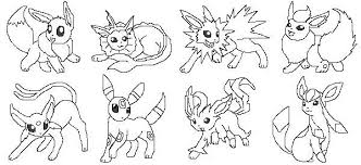 Pokemon Coloring Pages Eevee Evolutions Together Sleekadscom