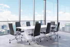 office conference room. Panoramic Conference Room In Modern Office New York City. Black Chairs And A White
