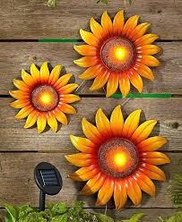 sunflower wall decor sunflower wall art decor sunflower wall art set of 3 solar lighted metal