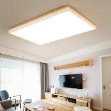 Low Cost Solid Wood Rectangular Simple Modern LED Ceiling Light