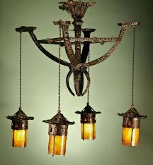 hammered bronze arts and crafts chandelier