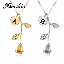famshin 26 letter personalized name jewelry rose engrave letter discs choker monogram rose flower necklace pendant for trendy rc monograms