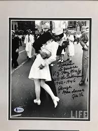 george mendonsa vj day sailor kissing nurse signed 8x10 custom framed display 1882055920