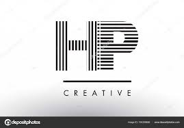 Hp H P 黒と白の線文字ロゴ デザイン ストックベクター Ankreative