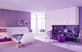 Purple Room Looks Beautiful and Soothing: Beautiful Shining Purple Girls  Bedroom with Modern Study Desk