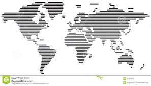 Eenvoudige Abstracte Zwart Witte Wereldkaart Stock Illustratie