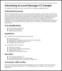 Admin Manager Cv Sample Advertising Account Manager Cv Sample Myperfectcv